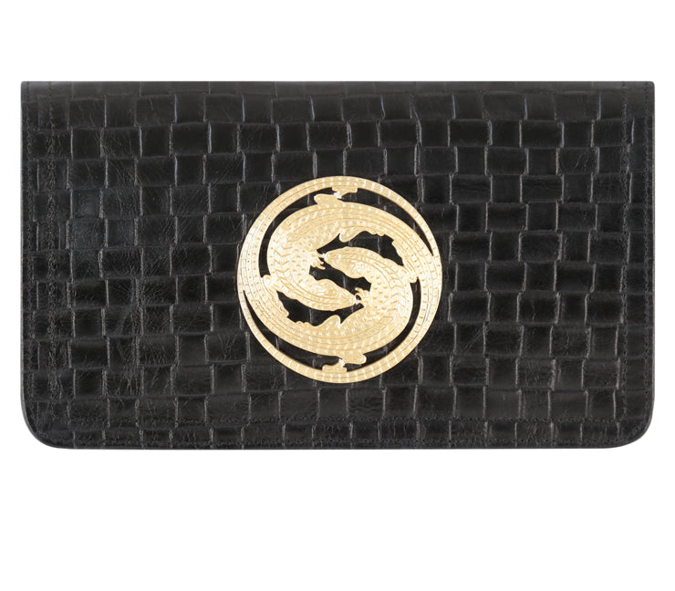 Jasper Black Leather Basketweave Clutch