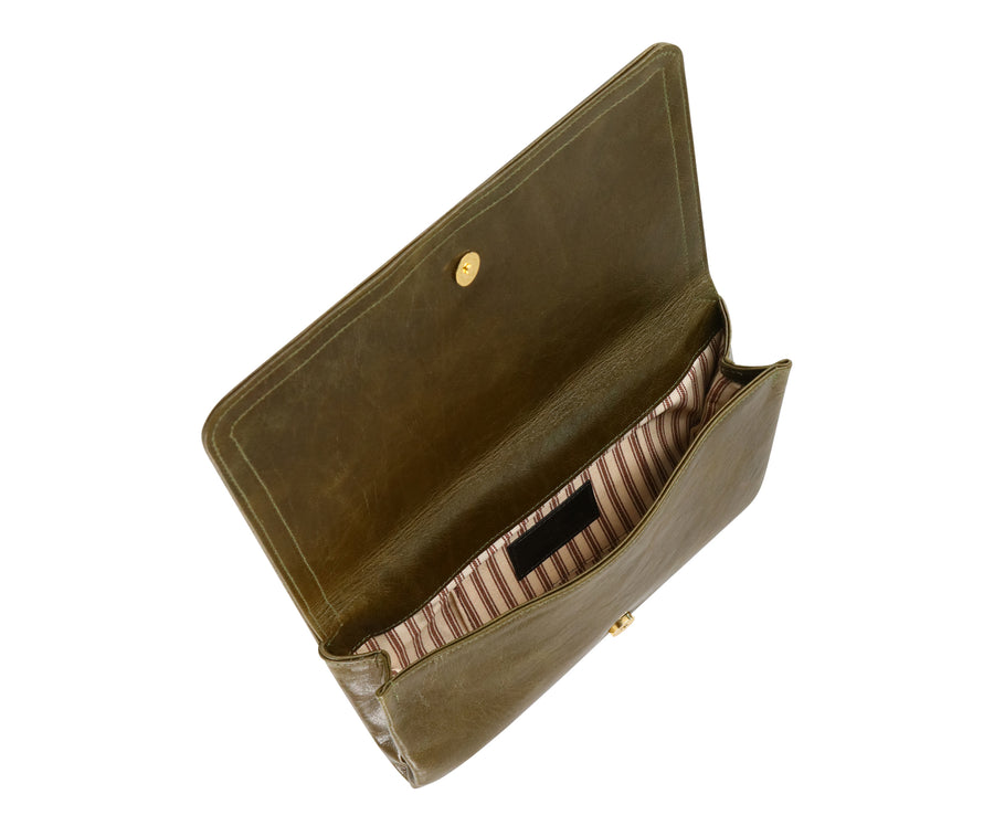 Jasper Olive Leather Clutch