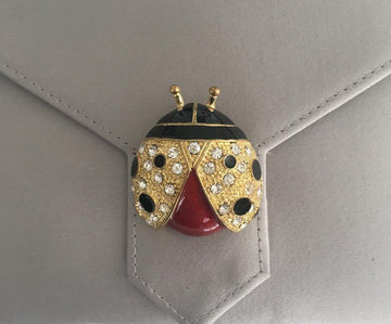 Enamel and Crystal Ladybird Brooch