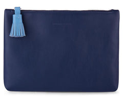 Navy Italian Leather Pouch