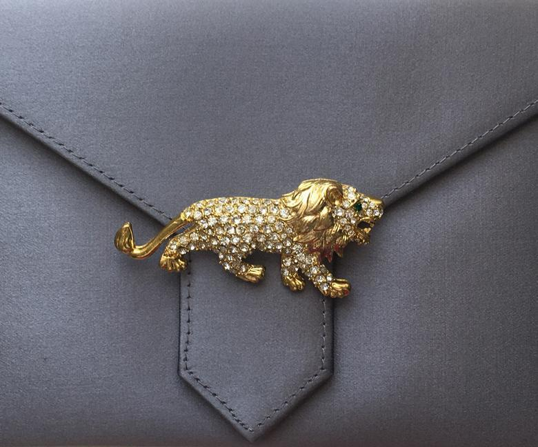 Gold Crystal Lion Brooch