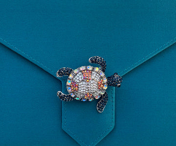 Multi-Crystal Turtle Brooch