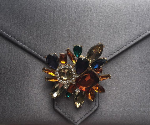 Multi-coloured Crystal Flower Brooch