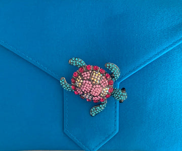 Pink and Blue Crystal Turtle Brooch