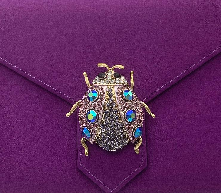 Purple Crystal Beetle Brooch