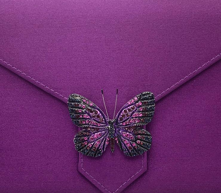 Purple and Black Crystal Butterfly Brooch