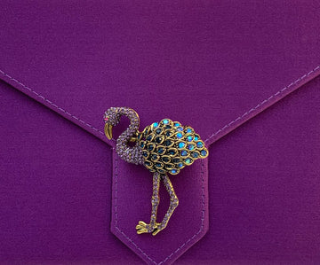 Purple Crystal Flamingo Brooch