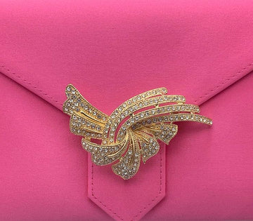 Gold and Crystal Deco Brooch