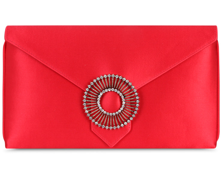 Edith Lipstick Red Classic Silk Clutch