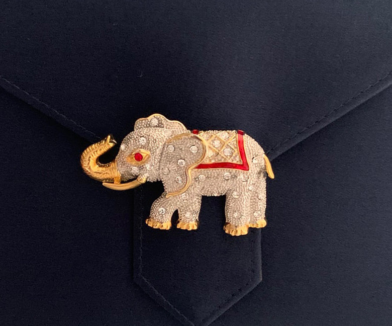 Crystal Elephant Brooch