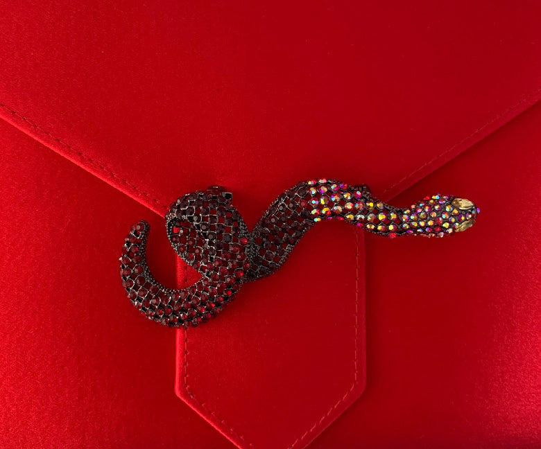 Red Crystal Snake Brooch