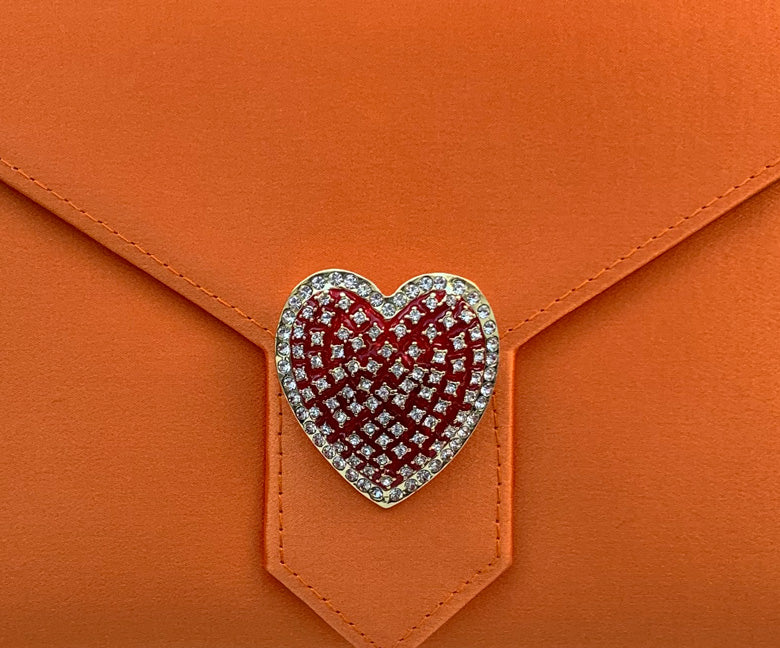 Red Enamel and Crystal Heart Brooch
