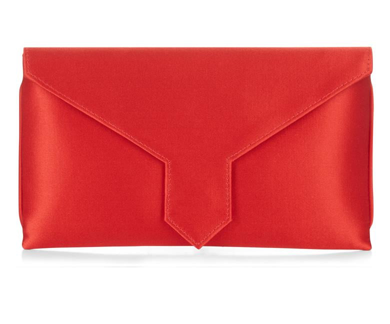 Charlie Bespoke Lipstick Red Silk Clutch
