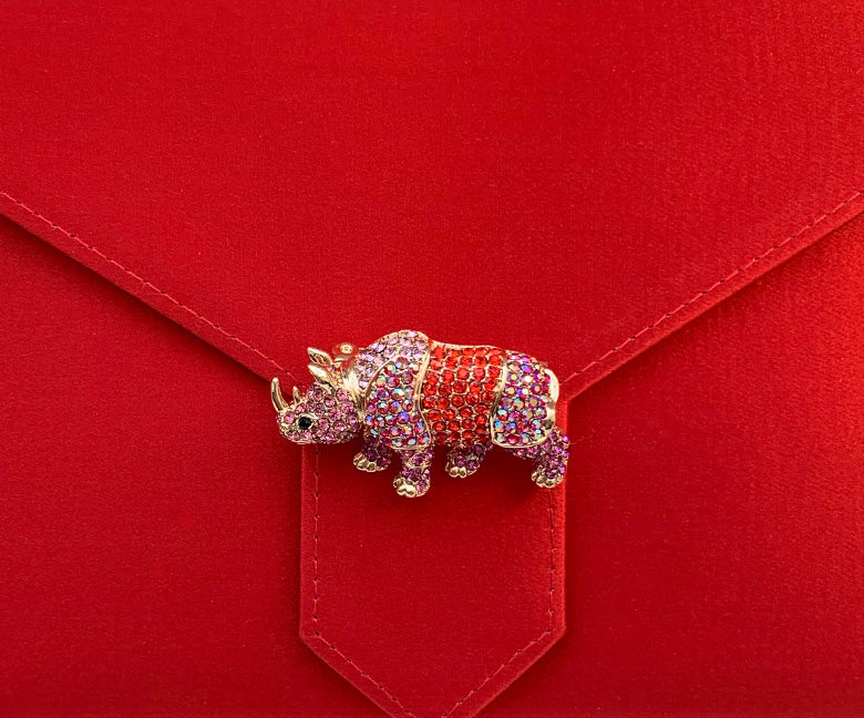 Red and Pink Crystal Rhino Brooch