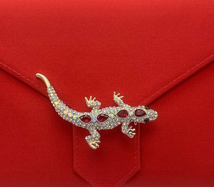 Gold Crystal and Ruby Red Salamander Brooch