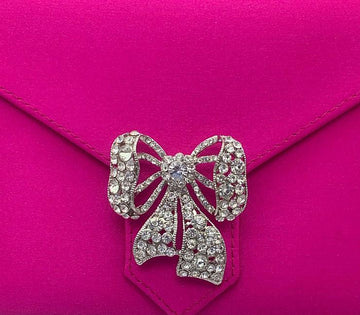 Silver Crystal Ribbon Brooch