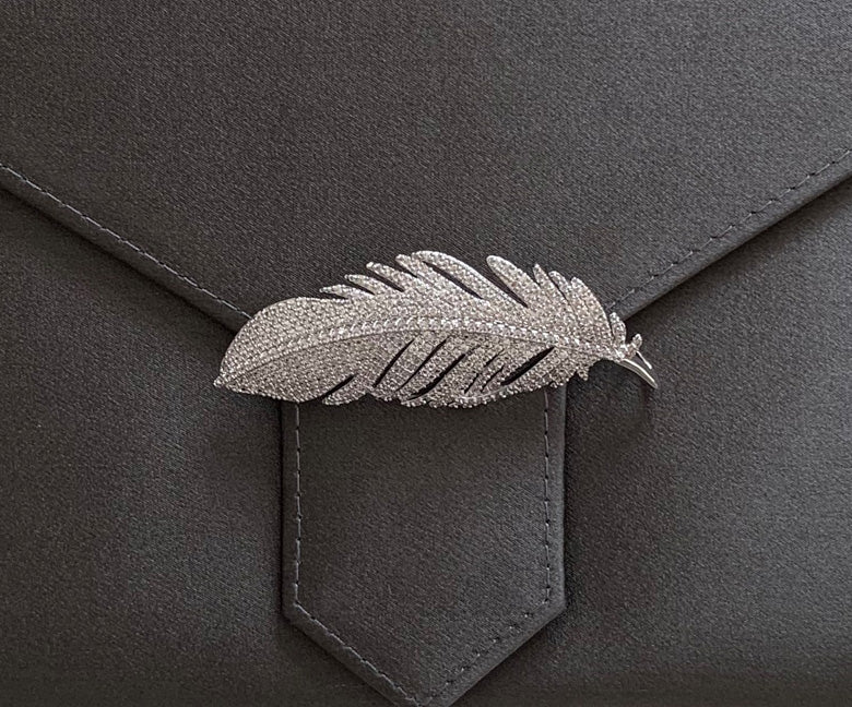 Silver Crystal Feather brooch