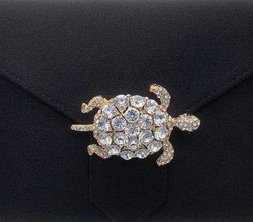 Gold Crystal Turtle Brooch