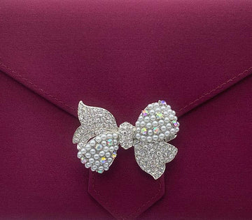 Silver Crystal and Pearl Ribbon Brooch