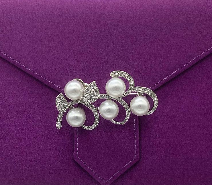 Silver and Pearl Crystal Flower Brooch