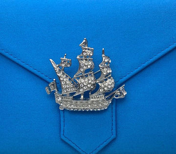 Silver Crystal Galleon Ship Brooch