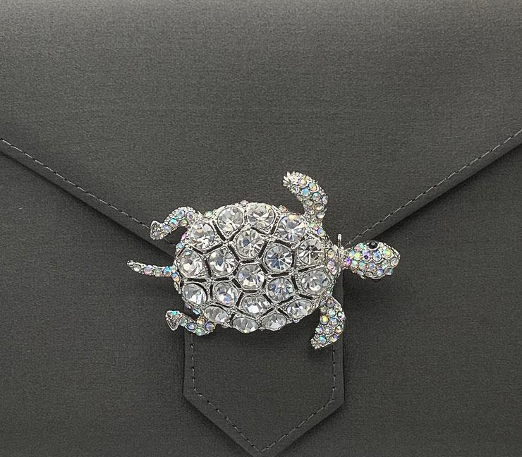 Silver Crystal Turtle Brooch