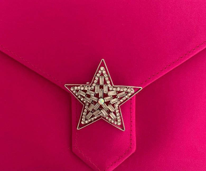 Silver Crystal Star Brooch
