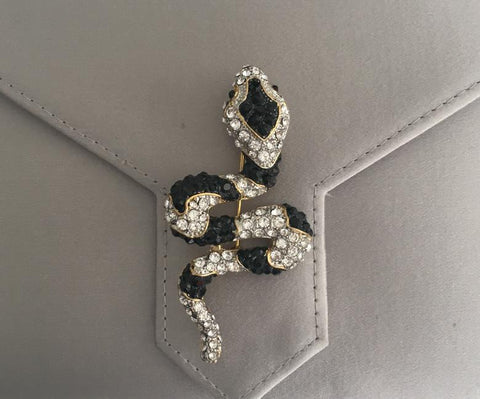 Gold Crystal and Black Snake Brooch