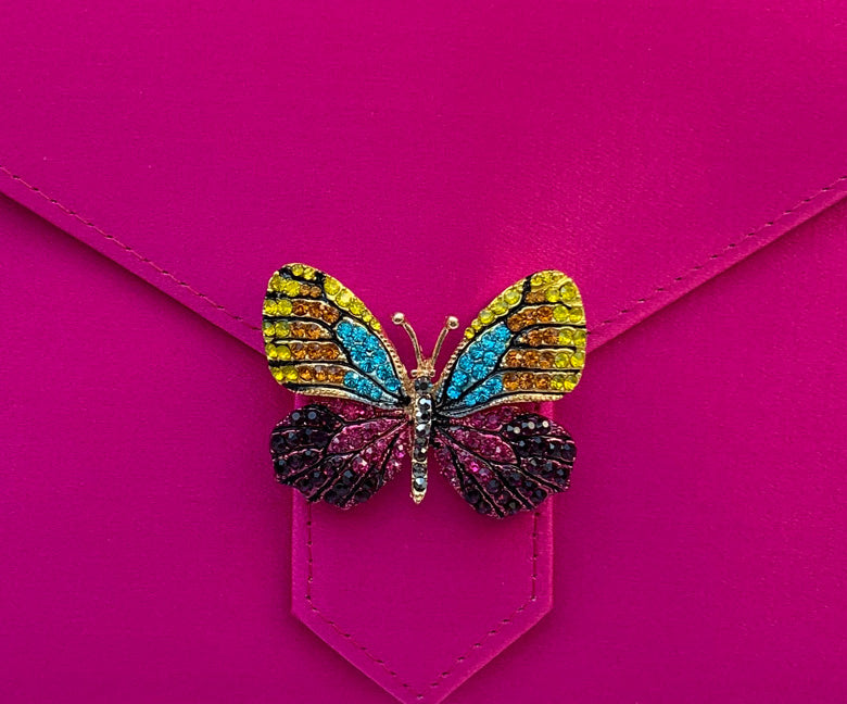 Multi-Crystal Butterfly Brooch
