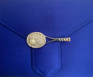 Crystal and Pearl Tennis Brooch