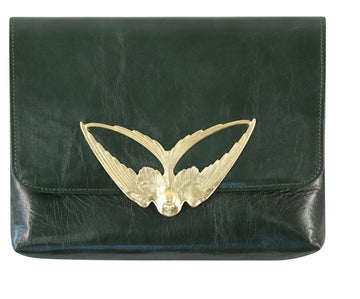 Tito Forest Green Leather Clutch