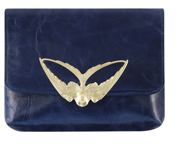 Tito Blue Leather Clutch