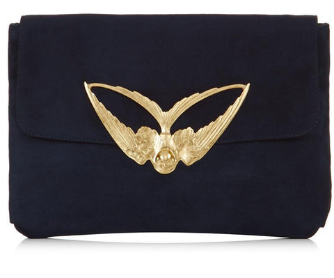 Tito Navy Suede Clutch