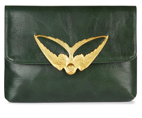 Tito Olive Leather Clutch