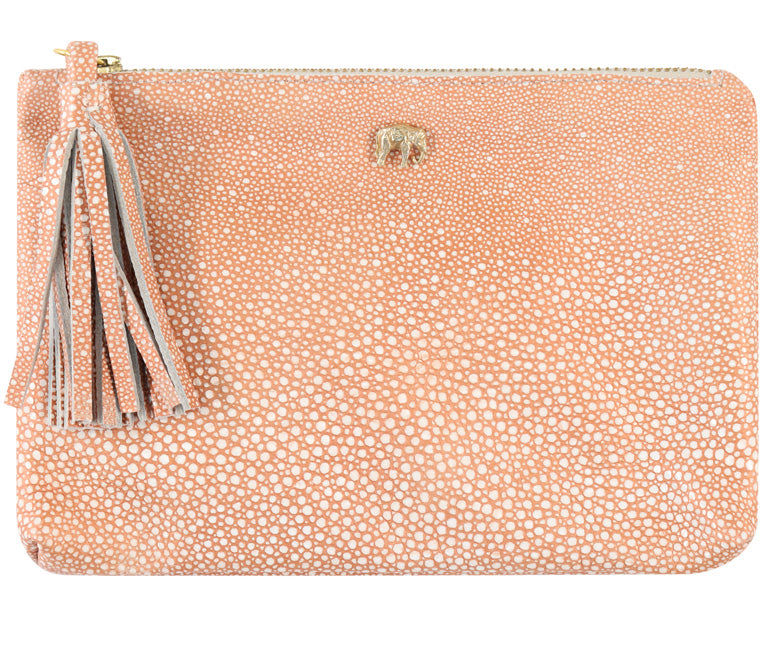 Tommy Dusty Pink Stingray Leather Pouch