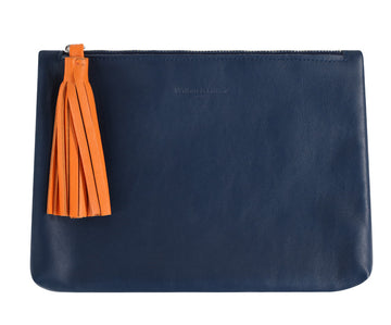 Tommy Blue and Orange Nappa Leather Pouch