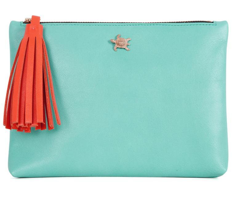 Tommy Aqua Leather Pouch