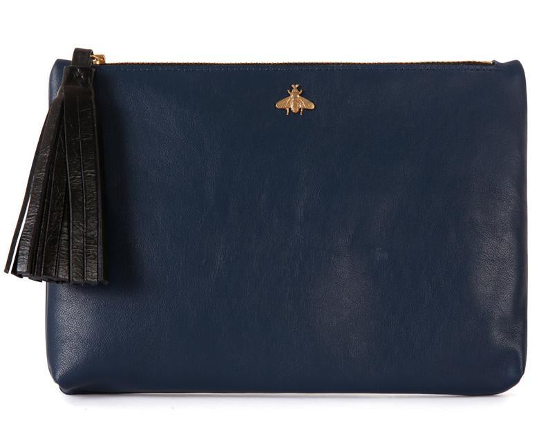 Tommy Blue Nappa Leather Pouch