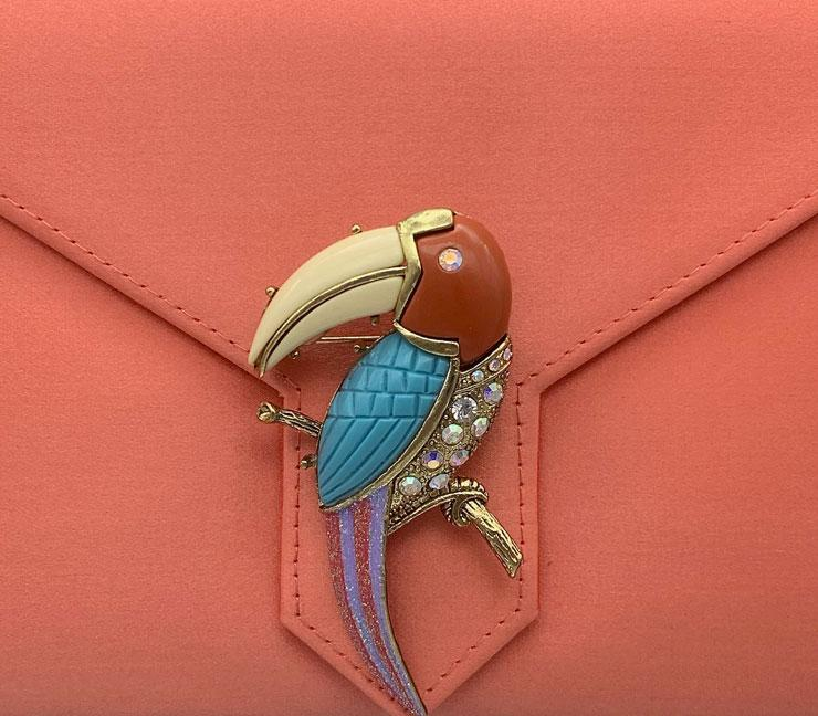 Gold Resin and Crystal Toucan Brooch