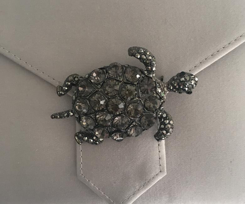 Black Diamond Crystal Turtle Brooch