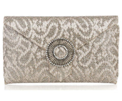 Edith Bronze Lace Glitter Clutch
