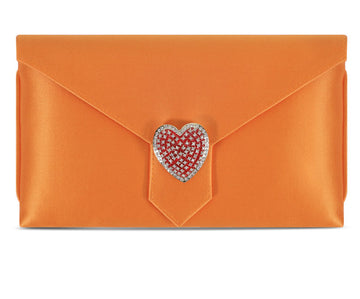 Charlie Orange Heart Silk Clutch