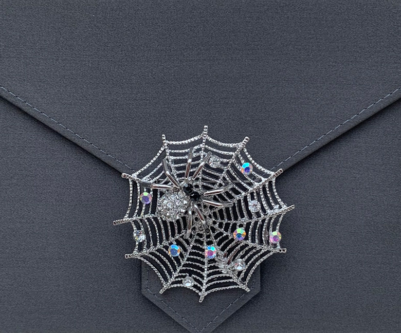 Black Diamond Crystal Spiderweb Brooch