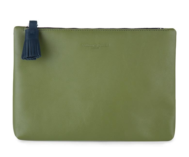 Tommy Olive Green Leather Pouch