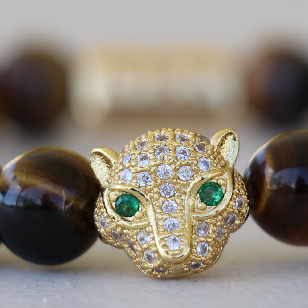 Bracelet - Tiger's Eye with Leopard Jewel Tiger Rescuer