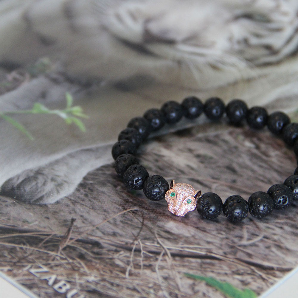 Bracelet - Lava beaded bracelet with jeweled leopard