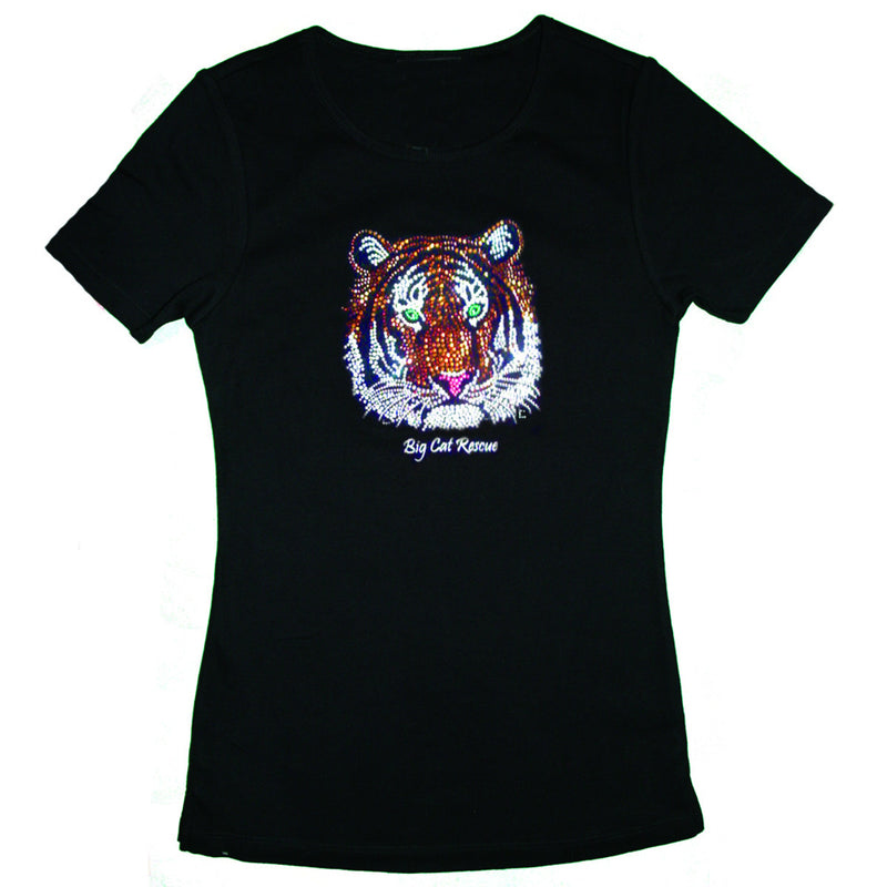 black bedazzled jeweled rhinestone tiger tee shirt