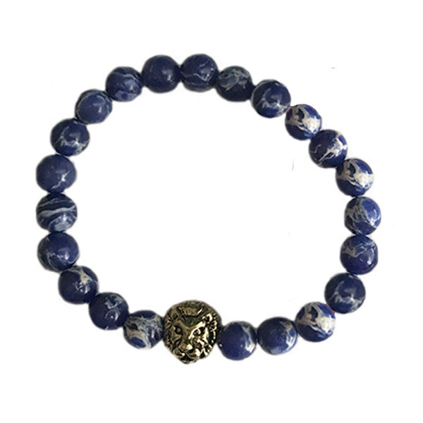 Bracelet - Blue Beaded Lion