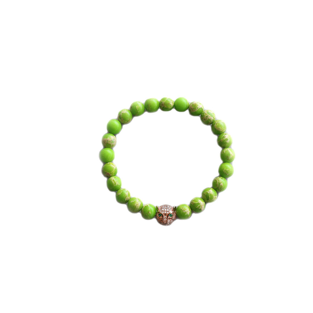 Bracelet -  Green beaded bracelet with jeweled leopard