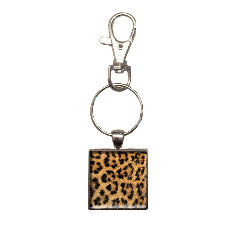 Key Chain: Metal Photo Leopard Spots